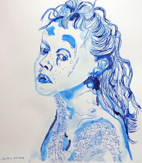 Selbst, 44,5 x 39 cm, Tusche auf Aquarellkarton, Zeichnung von Susanne Haun (c) VG Bild-Kunst, Bonn 2019