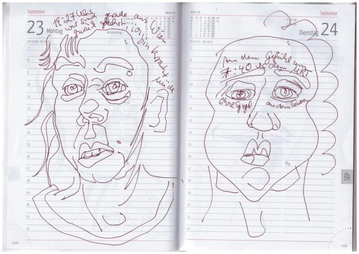 Selbstbildnisstagebuch 23.8. - 26.9.2019, Zeichnung von Susanne Haun (c) VG Bild-Kunst, Bonn 2019