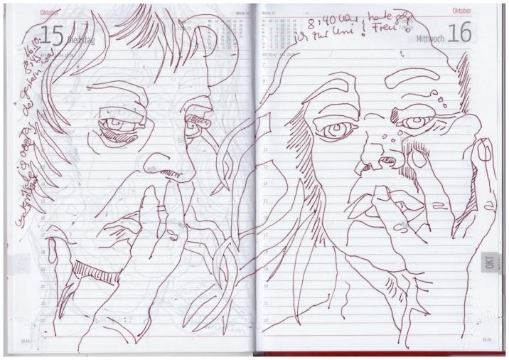 Selbstbildnisstagebuch 27.9. – 16.10.2019, Zeichnung von Susanne Haun (c) VG Bild-Kunst, Bonn 2019