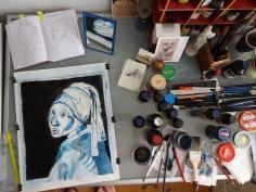 Entstehung Mein Mädchen mit dem Perlenohring, Tusche und Acryl auf Aquarellkarton, 44,5 x 39 cm, Zeichnung von Susanne Haun (c) VG Bild-Kunst, Bonn 2019