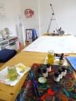 5 Vorbereitung meines Galerieraums für den KunstSalon zum Thema Afrika (c) Foto von Susanne Haun