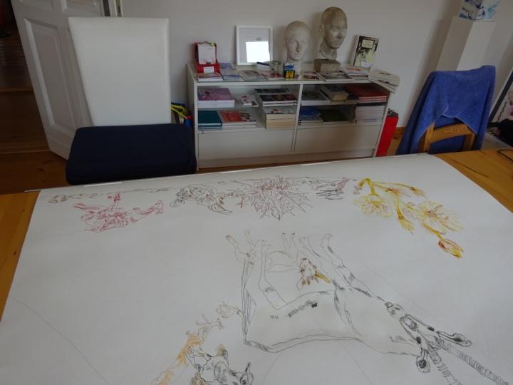 4 Vorbereitung meines Galerieraums für den KunstSalon zum Thema Afrika (c) Foto von Susanne Haun