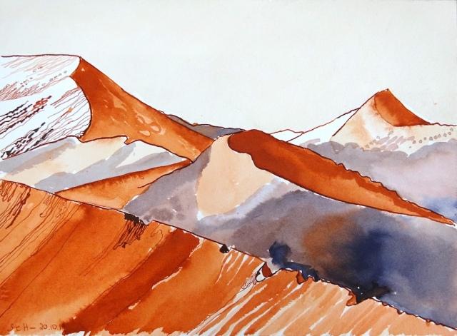 Die Wüste Namibias, 29 x 20 cm, Tusche auf Aquarellkarton, Zeichnung von Susanne Haun (c) VG Bild-Kunst, Bonn 2019