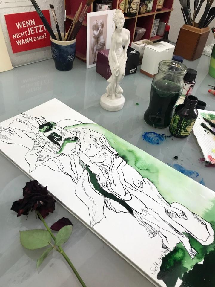 Rosen in Carrara, Version 1, 60 x 20 cm, Tusche auf Aquarellkarton, Zeichnung von Susanne Haun (c) VG Bild-Kunst, Bonn 2019
