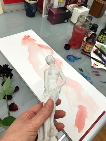 Entstehung Rosen in Carrara, Version 3, 60 x 20 cm, Tusche auf Aquarellkarton, Zeichnung von Susanne Haun (c) VG Bild-Kunst, Bonn 2019