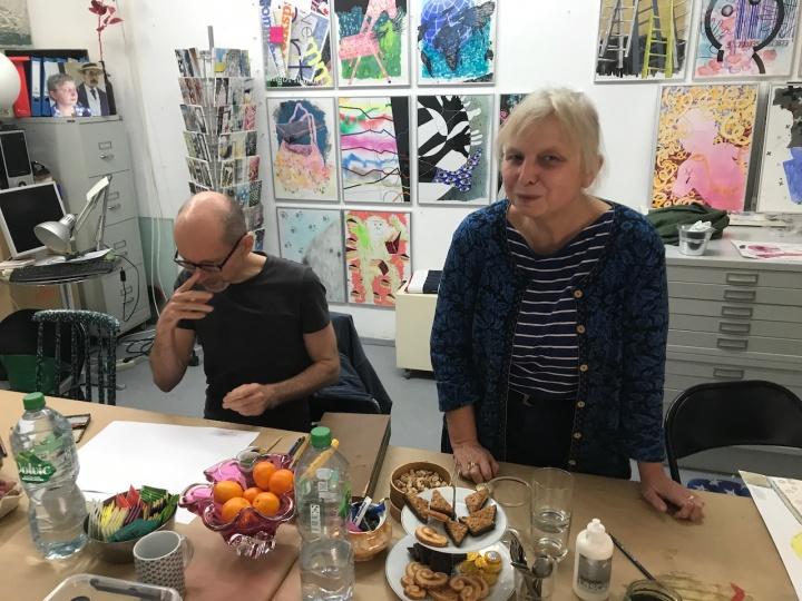 Gemeinschaftszeichnen bei Kirsten Kloeckner (c) Foto von Susanne Haun