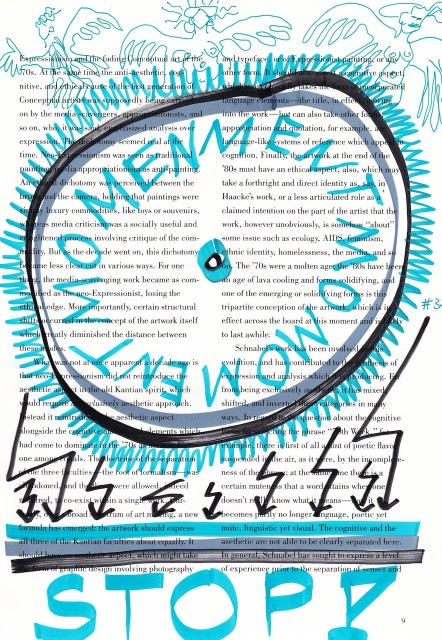Mentmomomentmomen, Stop, 30,5 x 22,7 cm, Marker auf Katalog, Aneignung, Zeichung von Susanne Haun (c) VG Bild-Kunst, Bonn 2019 Kopie