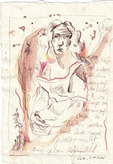2 - Susanne Haun, Wie einige von Sternen aufsteigen, 2.10.2005, 20 x 15 cm, Tusche, Buntstift und Aquarell auf Silberburg Büttenpapier