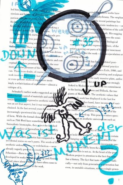 Was ist der Moment, 30,5 x 22,7 cm, Marker auf Katalog, Aneignung, Zeichung von Susanne Haun (c) VG Bild-Kunst, Bonn 2019
