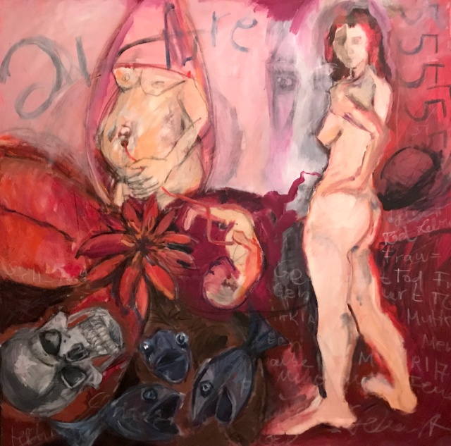 Die fuenf Lebensstufen der Frau, 100 x 100 cm, Acryl und Ölkreide auf Leinwand, Malerei von Susanne Haun (c) VG Bild-Kunst, Bonn 2020