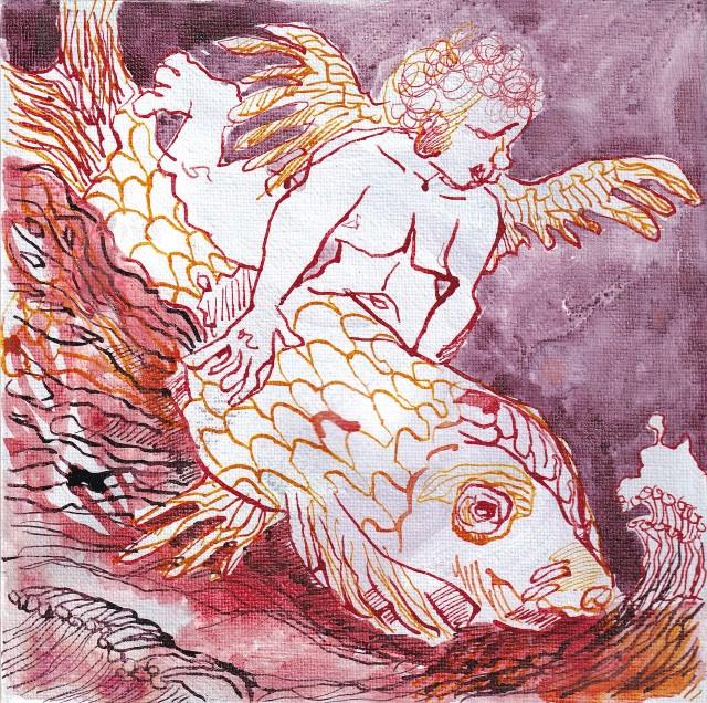 Einer flog auf einem Fisch, 20 x 20 cm, Tusche auf Leinwand, Zeichnung von Susanne Haun (c) VG Bild-Kunst, Bonn 2020