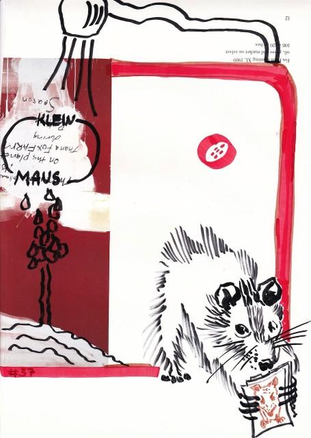 Maus am Spülbeckenrand, Vers. 1, 30,5 x 22,7 cm, Marker auf Katalog, Aneignung, Zeichung von Susanne Haun (c) VG Bild-Kunst, Bonn 2020