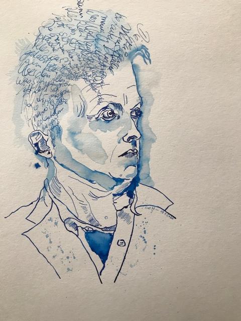 Wittgenstein, Tusche auf Aqauarellkarton, 40 x 30 cm, 2020 (c) Zeichnung von Susanne Haun