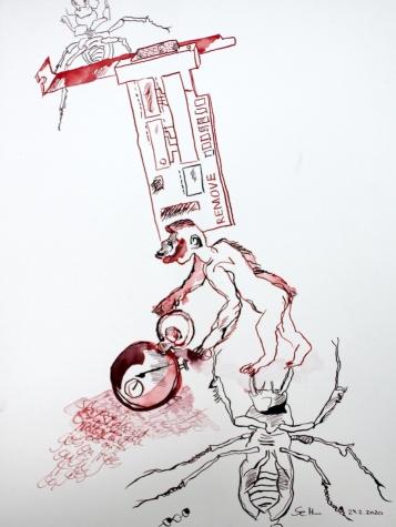Evolution, heller Hintergrund, 40 x 30 cm, Tusche auf Aquarellkarton, Zeichnung von Susanne Haun (c) VG Bild-Kunst, Bonn 2020