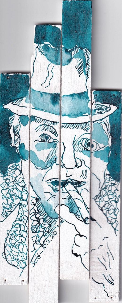 Zigarrenraucher, Version 1, Tusche und Feder auf Zigarrenkiste, Collage von Susanne Haun (c) VG Bild-Kunst, Bonn 2020
