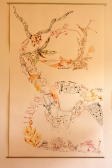 1. Versuch, bearbeitet, Movement of Capetown, South Africa, 200 x 125 cm, Tusche auf Aquarellkarton, Zeichnung von Susanne Haun (c) VG Bild-Kunst, Bonn 2020