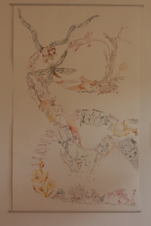 1. Versuch Movement of Capetown, South Africa, 200 x 125 cm, Tusche auf Aquarellkarton, Zeichnung von Susanne Haun (c) VG Bild-Kunst, Bonn 2020
