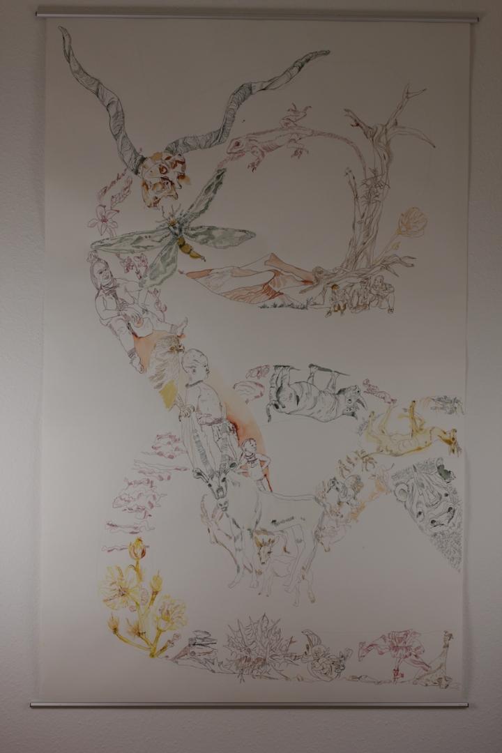 2. Versuch Movement of Capetown, South Africa, 200 x 125 cm, Tusche auf Aquarellkarton, Zeichnung von Susanne Haun (c) VG Bild-Kunst, Bonn 2020