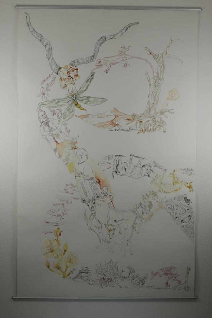 3. Versuch Movement of Capetown, South Africa, 200 x 125 cm, Tusche auf Aquarellkarton, Zeichnung von Susanne Haun (c) VG Bild-Kunst, Bonn 2020