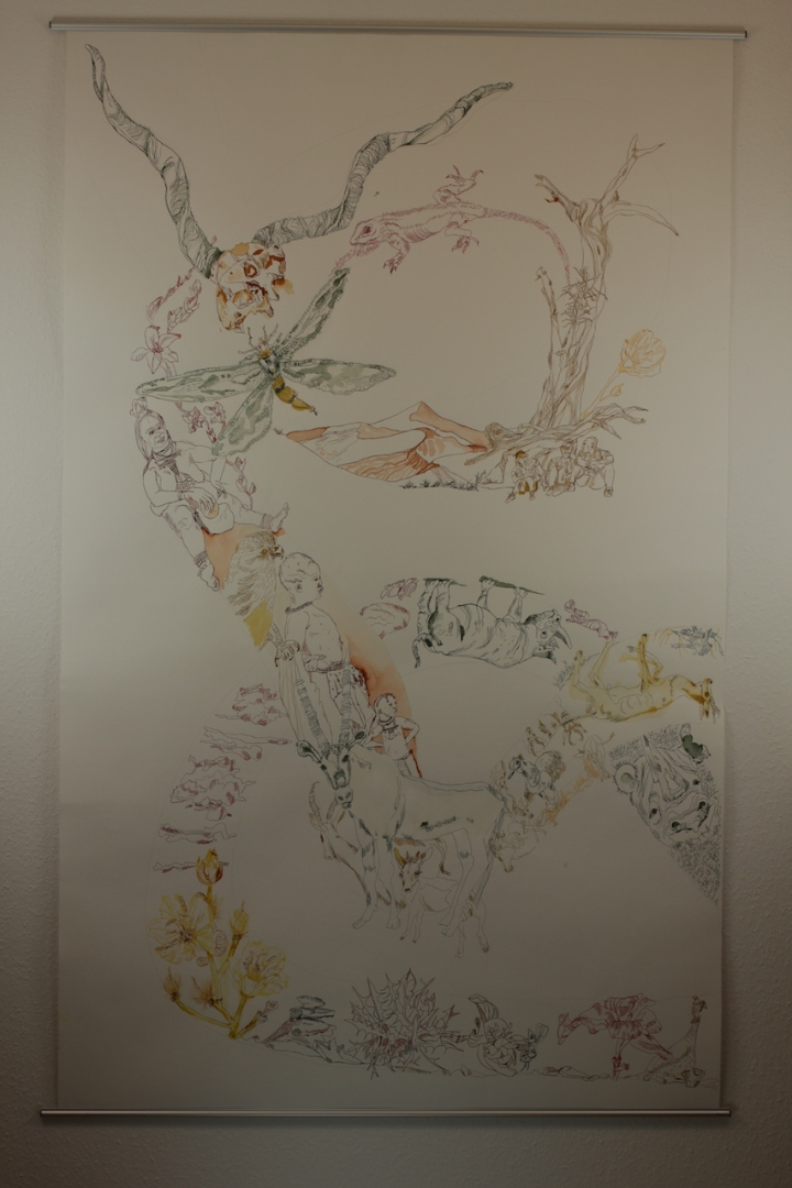 4. Versuch Movement of Capetown, South Africa, 200 x 125 cm, Tusche auf Aquarellkarton, Zeichnung von Susanne Haun (c) VG Bild-Kunst, Bonn 2020