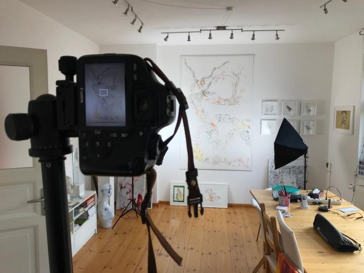 5. Versuchtsanordnung, Movement of Capetown, South Africa, 200 x 125 cm, Tusche auf Aquarellkarton, Zeichnung von Susanne Haun (c) VG Bild-Kunst, Bonn 2020
