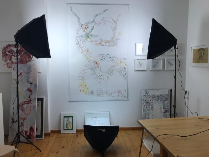 7. Versuchtsanordnung, Movement of Capetown, South Africa, 200 x 125 cm, Tusche auf Aquarellkarton, Zeichnung von Susanne Haun (c) VG Bild-Kunst, Bonn 2020