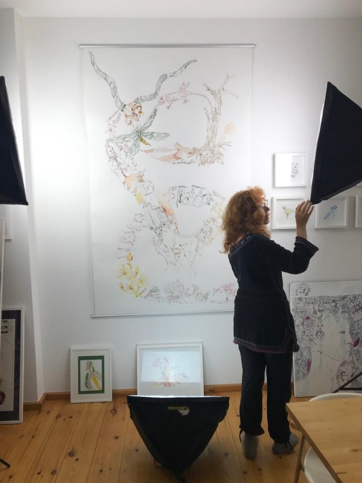 8. Versuchtsanordnung, Movement of Capetown, South Africa, 200 x 125 cm, Tusche auf Aquarellkarton, Zeichnung von Susanne Haun (c) VG Bild-Kunst, Bonn 2020