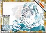 Meine Erinnerung an meinen gesunden Papa, Tusche und Feder auf Zigarrenkiste, 16,3 x 22,2 cm, Zeichnung von Susanne Haun (c) VG Bild-Kunst, Bonn 2020