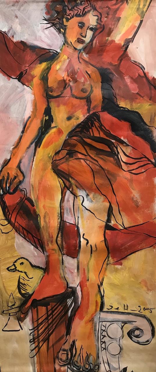 Siegessäule,2005, 186 x 79,5 cm, Acryl und Tusche auf Leinwand, Gemälde von Susanne Haun (c) VG Bild-Kunst, Bonn 2020