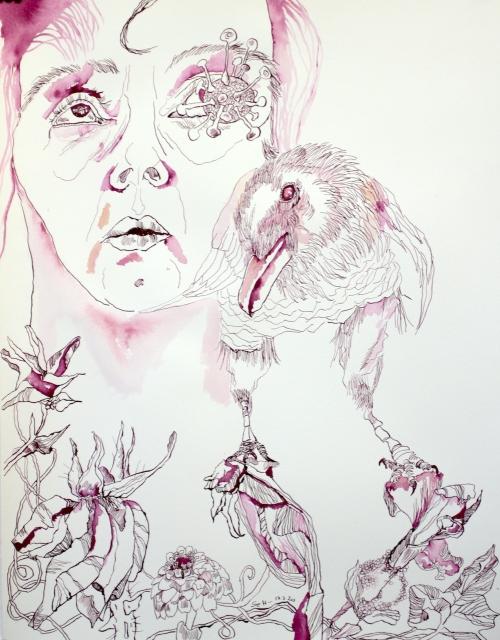 Die Traumdeuterin und Seherin, 65 x 50 cm, Tusche auf Aquarellkarton, Zeichnung von Susanen Haun (c) VG Bild-Kunst, Bonn 2020