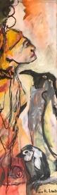 Im Gespraech mit den Pinguinen, 100 x 30 cm, 2007, Acryl auf Leinwand (c) Gemaelde von Susanne Haun