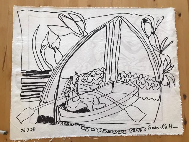 Durch das Tor, 57 x 74 cm, Acryl und Marker auf Leinwand, Einlinienzeichnung von Susanne Haun (c) VG Bild-Kunst, Bonn 2020