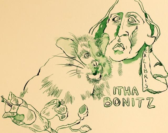 Exlibris Itha Bonitz, Tusche auf Hahnemühle Papier, 256 x 32 cm (c) Zeichnung von Susanne Haun