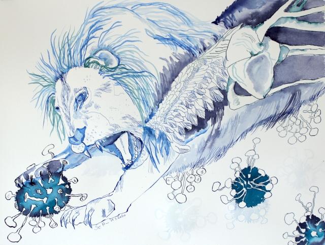 Der geflügelte Löwe, Tusche auf Aquarellkarton, 65 x 50 cm, Zeichnung von Susanne Haun (c) VG Bild-Kunst, Bonn 2020