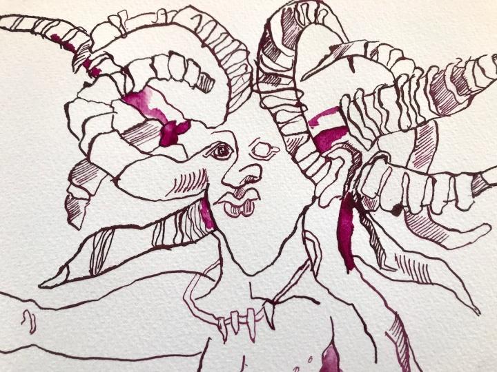 Corona - ein Tier ganz furchtbar mit 10 Hoernern auf dem Kopf (c) Susanne Haun