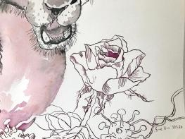 Entstehung Der Panther, Tusche auf Aquarellkarton, 65 x 50 cm, Zeichnung von Susanne Haun (c) VG Bild-Kunst, Bonn 2020