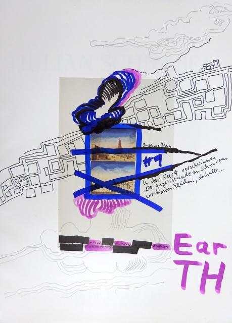 Earth, 30,5 x 22,7 cm, Marker auf Katalog, Aneignung, Zeichung von Susanne Haun (c) VG Bild-Kunst, Bonn 2020