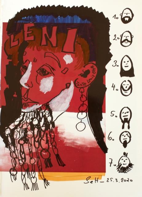 Tante Lenis Damenbart, 30,5 x 22,7 cm, Marker auf Katalog, Aneignung, Zeichung von Susanne Haun (c) VG Bild-Kunst, Bonn 2020