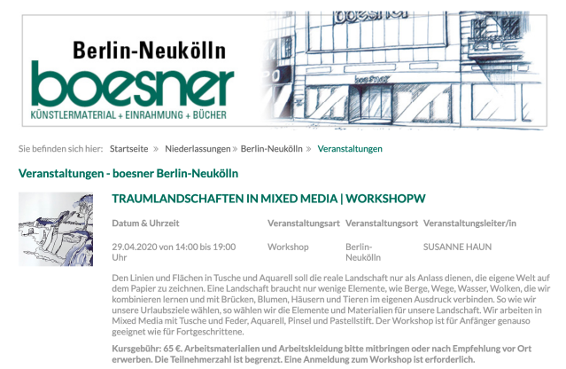 Workshop Traumlandschaften zeichnen und kolorieren mit Susanne Haun bei Boesner in Berlin Neukölln