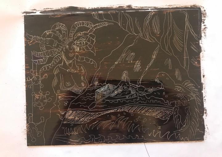 Abgedeckte Zinkplatte, Die blaue Grotte, Version 2, 15 x 20 cm, Aquatinta von Susanne Haun (c) VG Bild-Kunst, Bonn 2020
