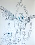 Der Deuteengel, Tusche auf Aquarellkarton, 65 x 50 cm, Zeichnung von Susanne Haun (c) VG Bild-Kunst, Bonn 2020
