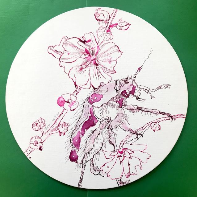 Malven mit Rosenkäfer, Durchmesser 40 cm, Tusche auf Leinwandkarton, Zeichnung von Susanne Haun (c) VG Bild-Kunst, Bonn 2020