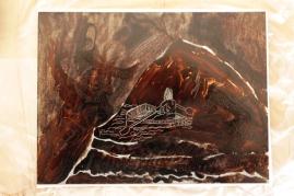Abgedeckte Zinkplatte, Die blaue Grotte, Version 1, 15 x 20 cm, Aquatinta von Susanne Haun (c) VG Bild-Kunst, Bonn 2020