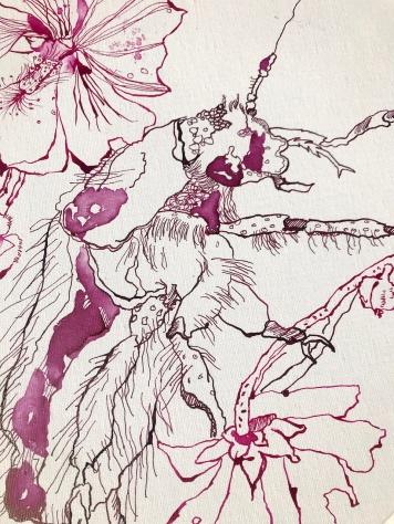 Ausschnitt Malven mit Rosenkäfer, Durchmesser 40 cm, Tusche auf Leinwandkarton, Zeichnung von Susanne Haun (c) VG Bild-Kunst, Bonn 2020