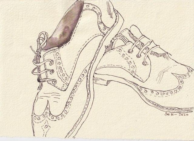 Tipp Tapp, Mit Schuhen im Regen, 20 x 30 cm, Tusche auf Silberburg Bütten, Zeichnung von Susanne Haun (c) VG Bild-Kunst, Bonn 2020