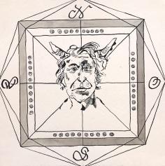 Windrose schwarz - der Teufel - Zeichnung von Susanne Haun - 25 x 25 cm - Tusche auf Bütten (c) VG Bild-Kunst, Bonn 2020