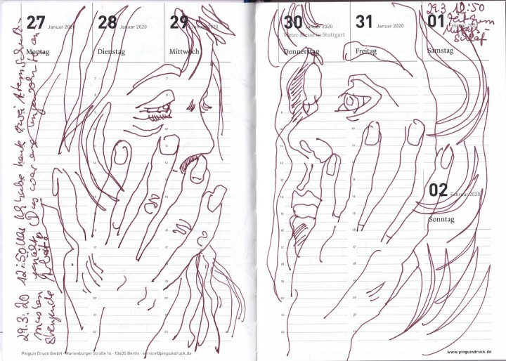 Selbstbildnisstagebuch 18.3. - 12.4. 2020, Zeichnung von Susanne Haun (c) VG Bild-Kunst, Bonn 2020