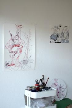 Corona Covid-19 laesst uns den Klimawandel vergessen, 76 x 56 cm, Zeichnung von Susanne Haun (c) VG Bild-Kunst, Bonn 2020