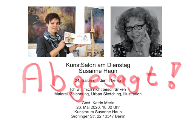 Absage KunstSalon - Einladung Salon Katrin bei Susanne Haun