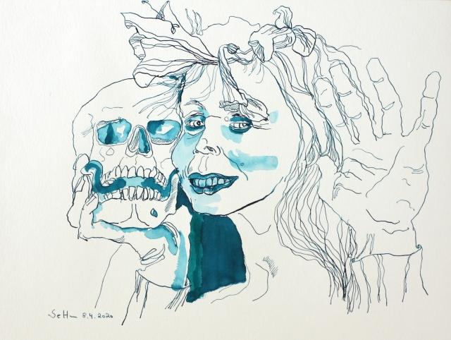 Lachendes Selbst, 30 x 40 cm, Tusche auf Aqarellkarton, Zeichnung von Susanne Haun (c) VG Bild-Kunst, Bonn 2020